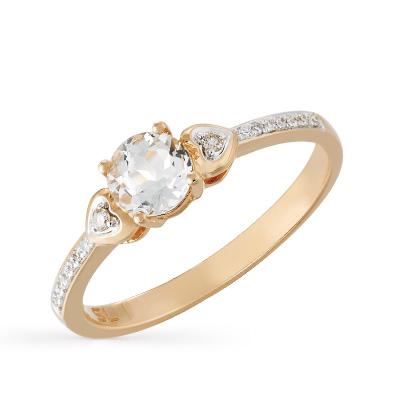 золотое кольцо с бриллиантами и топазами SUNLIGHT