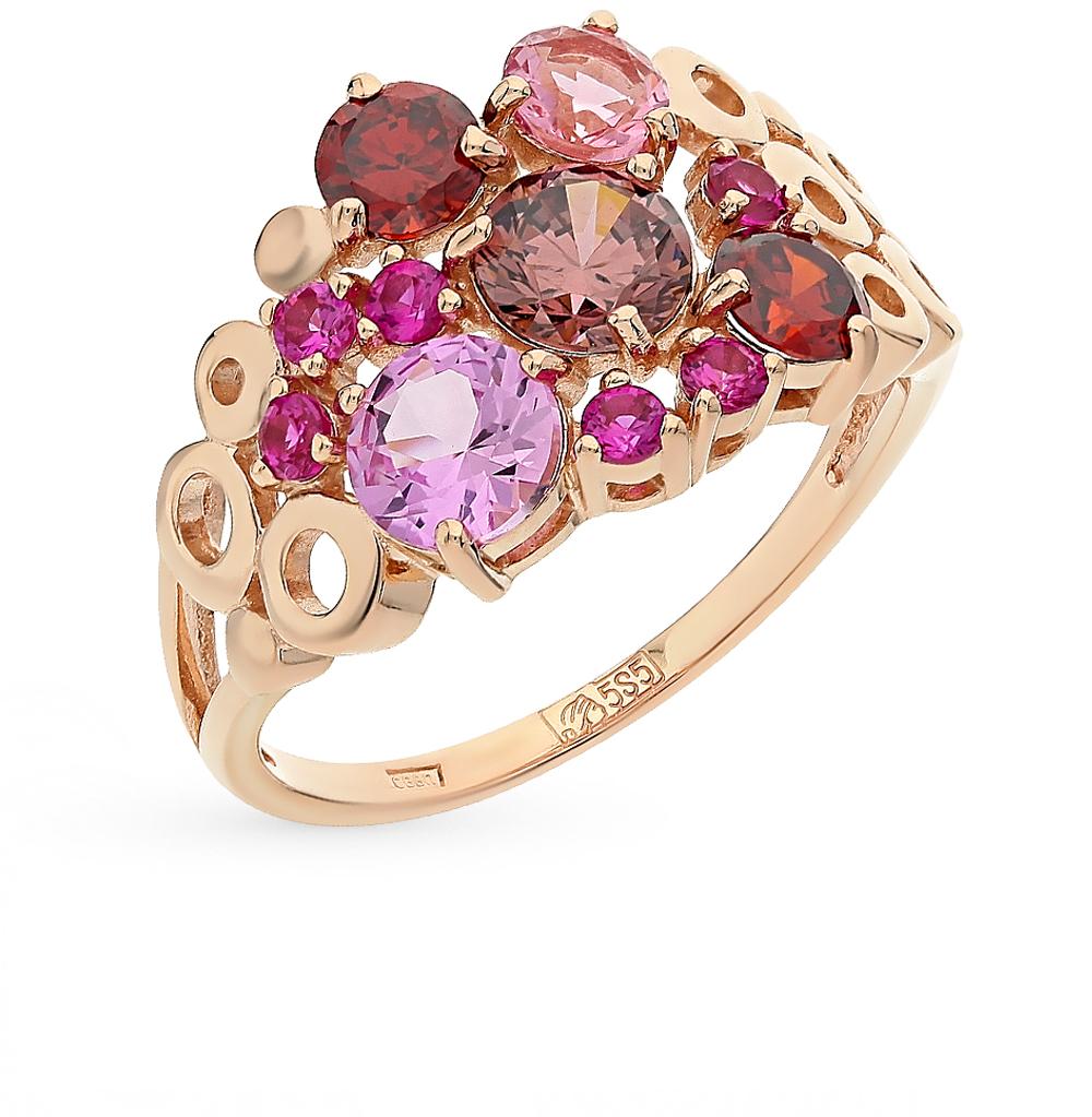 Фото «золотое кольцо с корундом, гранатом, рубинами и родолитами»