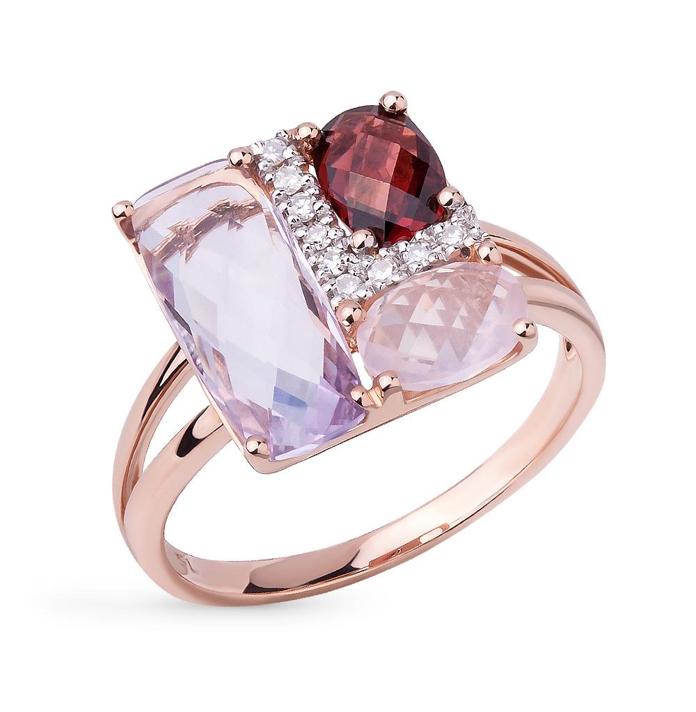 Фото «золотое кольцо с бриллиантами, аметистами, гранатами и кварцами»