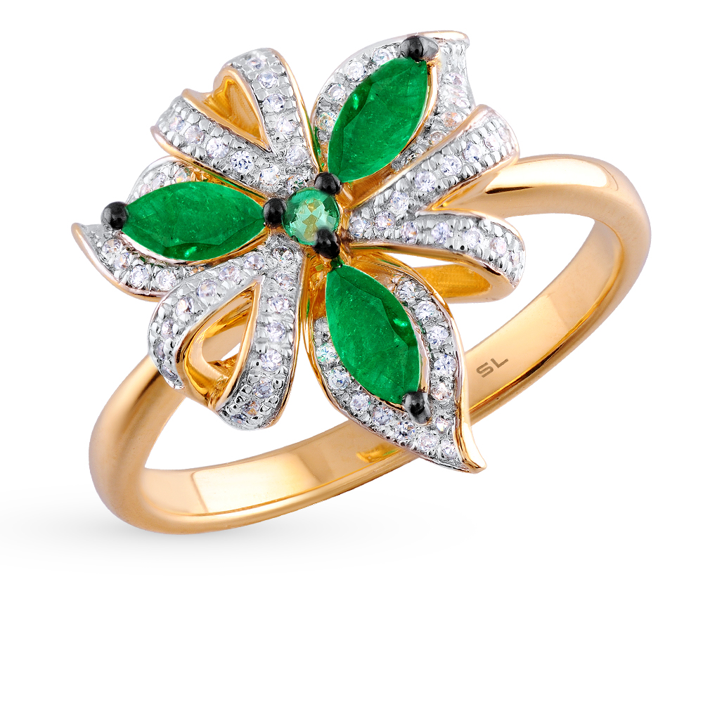 Фото «золотое кольцо с бриллиантами и изумрудами»