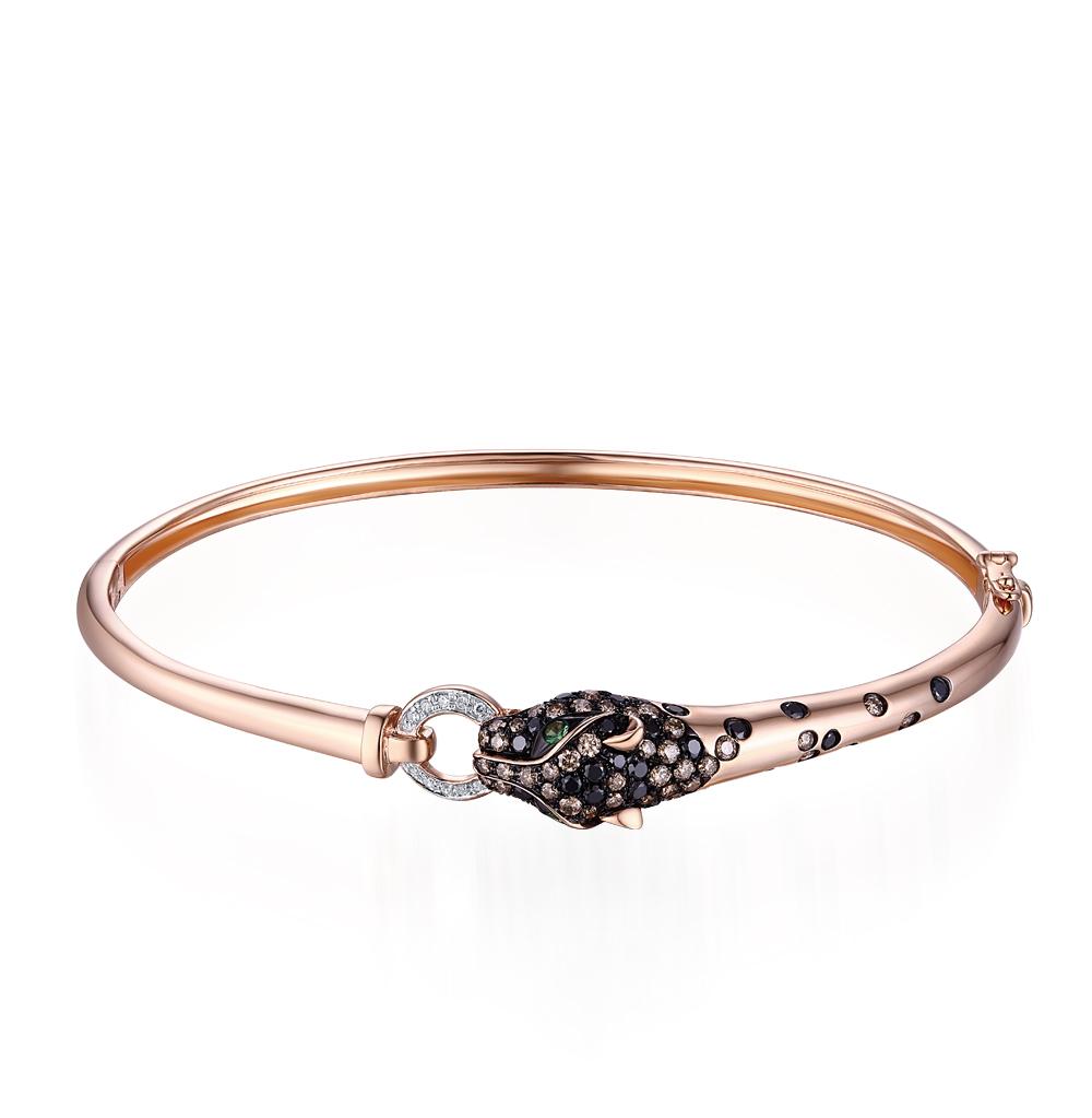золотой браслет с чёрными и коньячными бриллиантами, гранатом и бриллиантами SUNLIGHT
