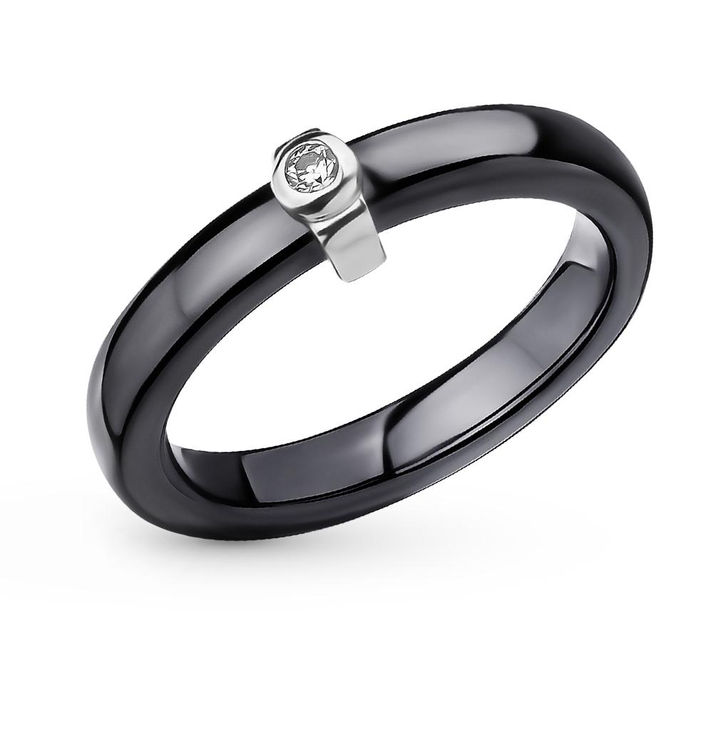 Фото «керамическое кольцо с серебро и фианитами»