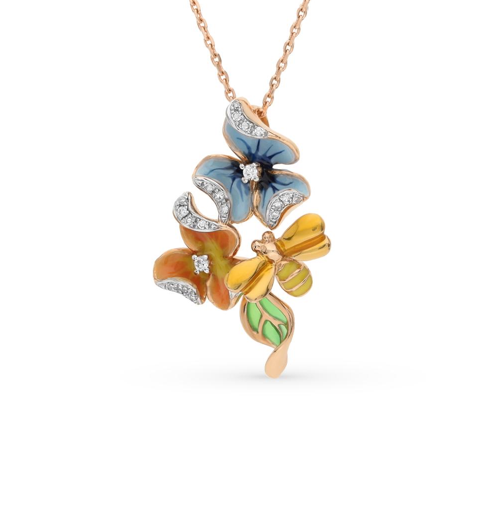 Фото «золотая подвеска с бриллиантами и эмалью»