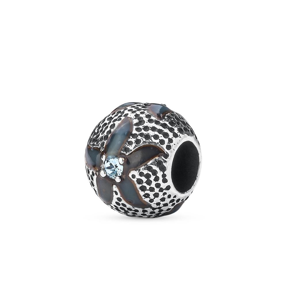 серебряная подвеска - шарм с эмалью и кристаллами swarovski SUNLIGHT