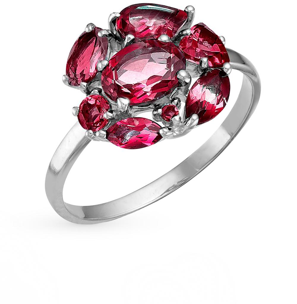 Фото «серебряное кольцо с аметистами, топазами, фианитами и родолитами»