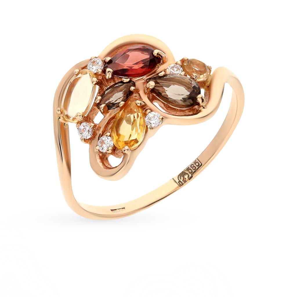 Фото «золото кольцо с гранатами, цитринами, фианитами и раухтопазами (кварцами дымчатый)»