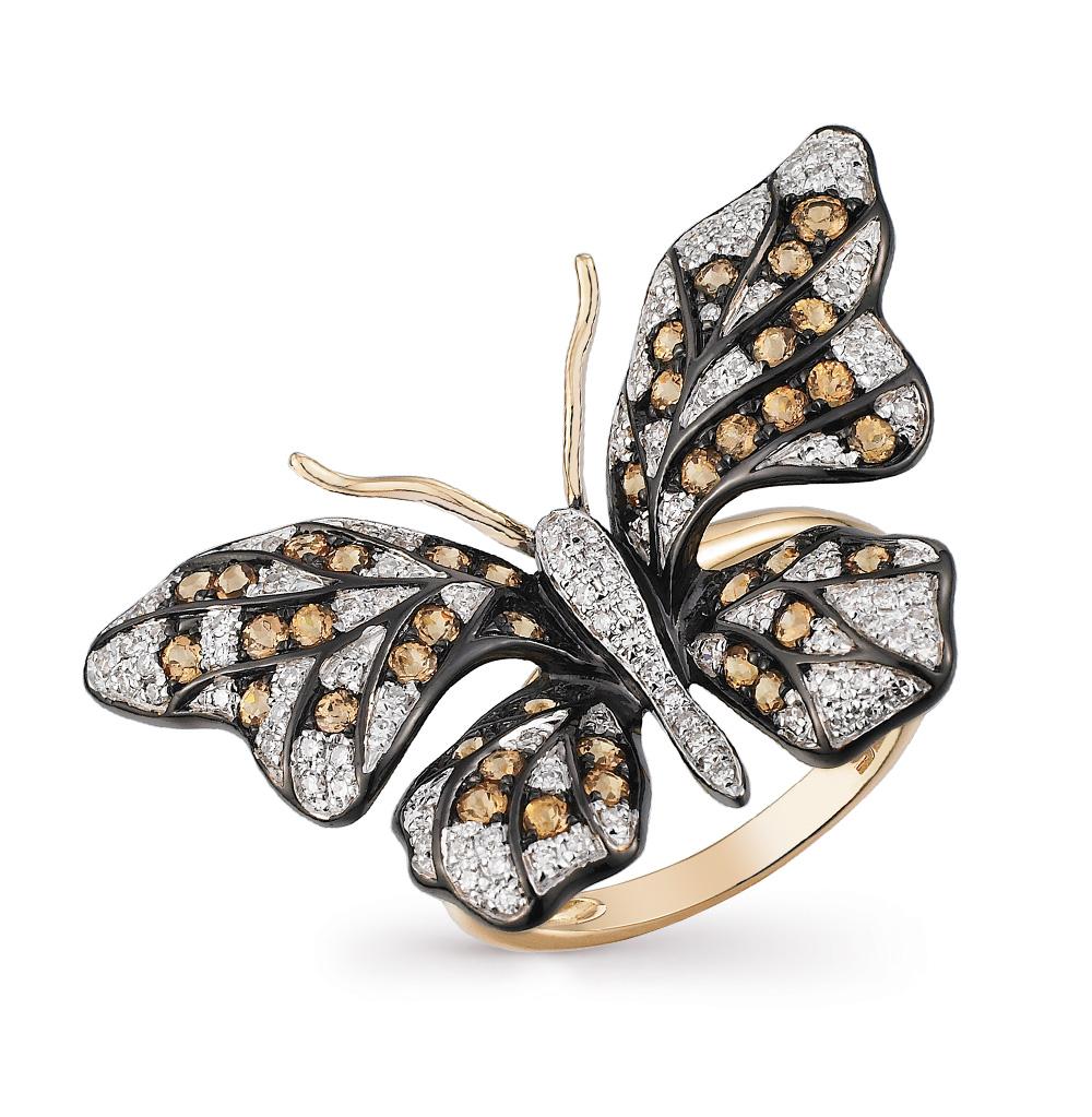 Фото «золотое кольцо с бриллиантами и гранатами»