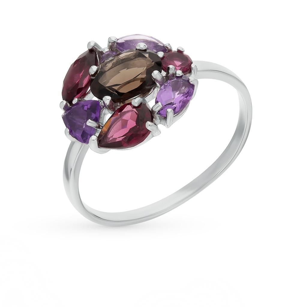 Фото «серебряное кольцо с аметистом и родолитами»