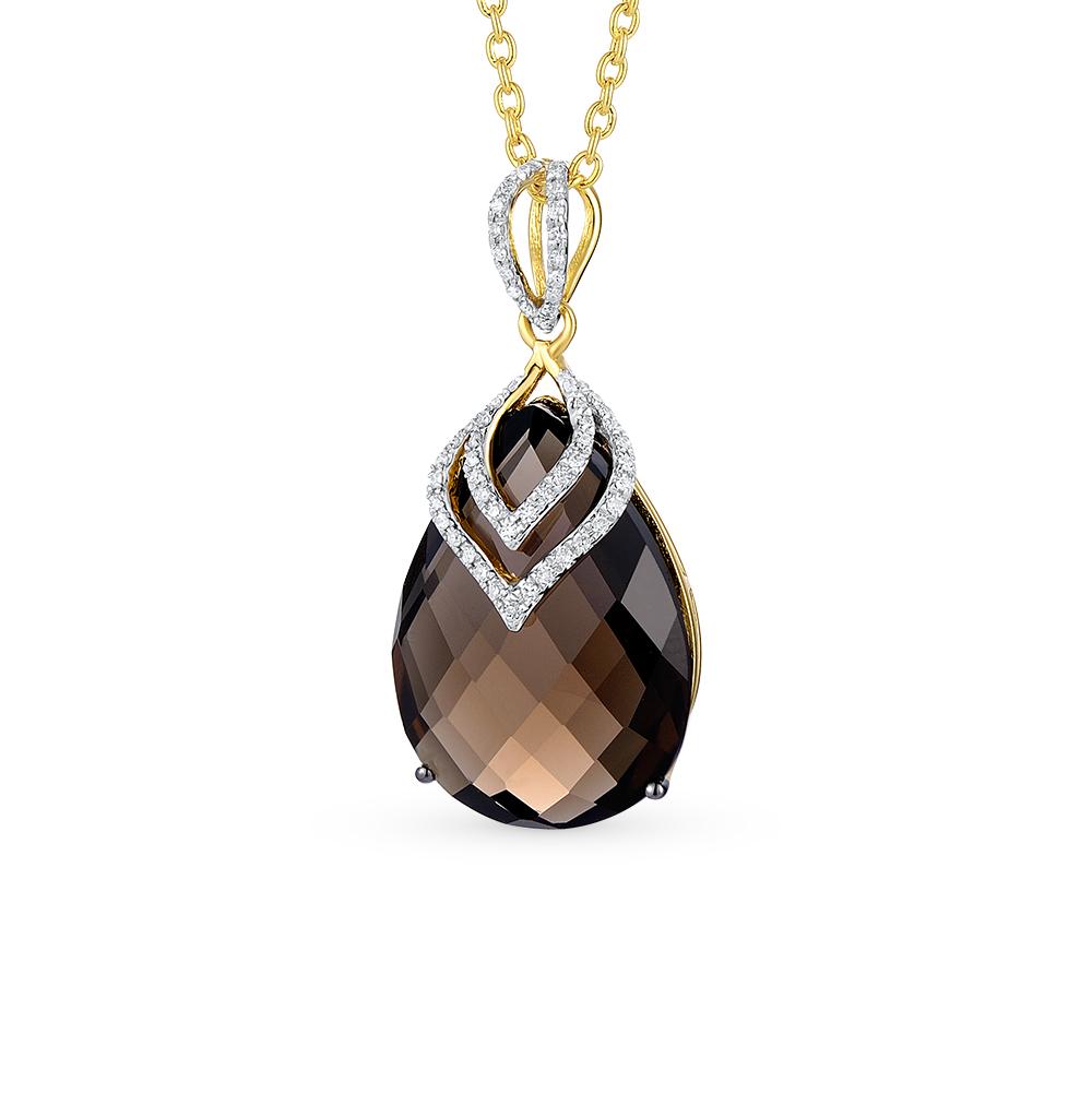 Фото «золотая подвеска с раухтопазами (кварцами дымчатый) и бриллиантами»