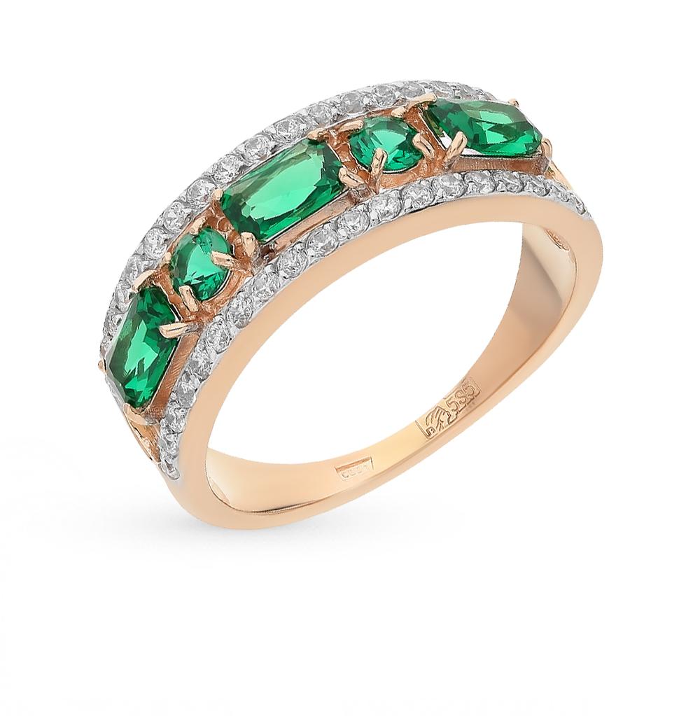 Фото «золотое кольцо с изумрудами и фианитами»