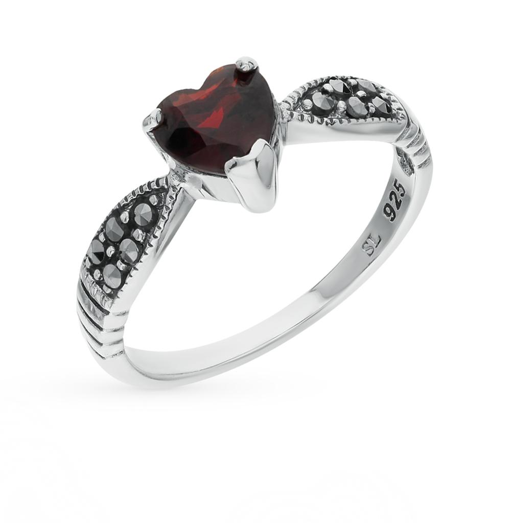 Фото «серебряное кольцо с гранатами и марказитами»