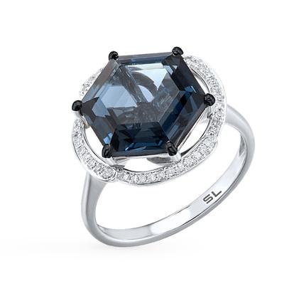 Фото «серебряное кольцо с бриллиантами, топазами и фианитами»