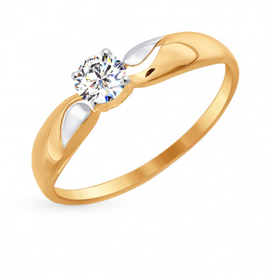 Sokolov Золотое кольцо с камнями Swarovski, nd81010197, 16