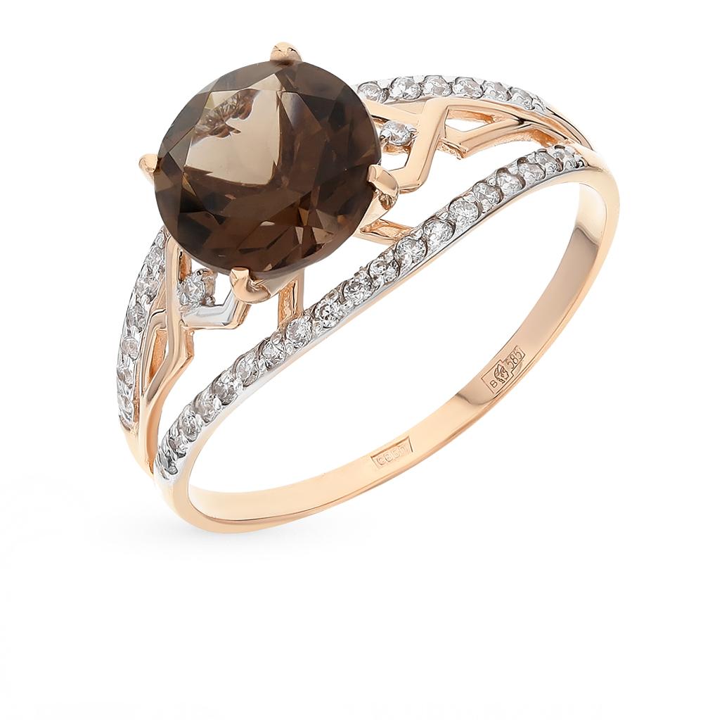 Фото «золотое кольцо с фианитами и раухтопазами»