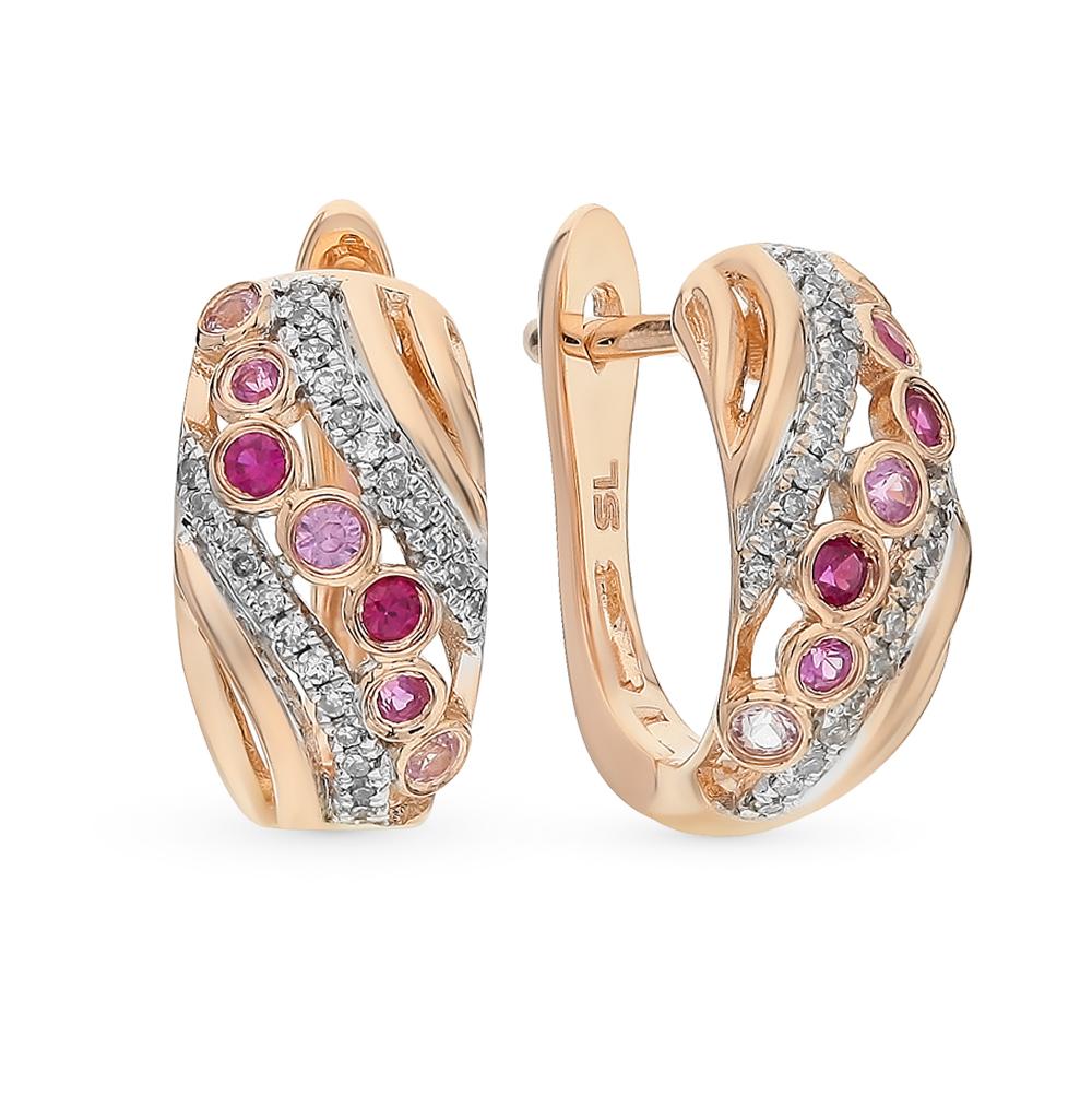 Фото «золотые серьги с бриллиантами, рубинами и сапфирами»