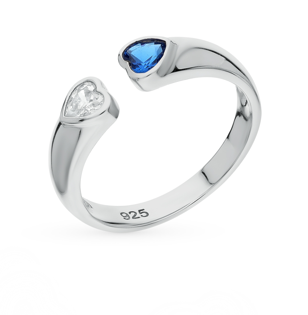 Фото «серебряное кольцо с фианитами и шпинелями»