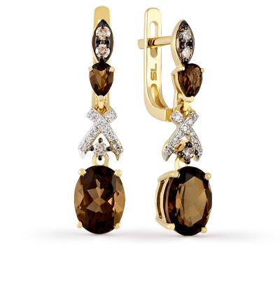 Фото «золотые серьги с бриллиантами и кварцами»