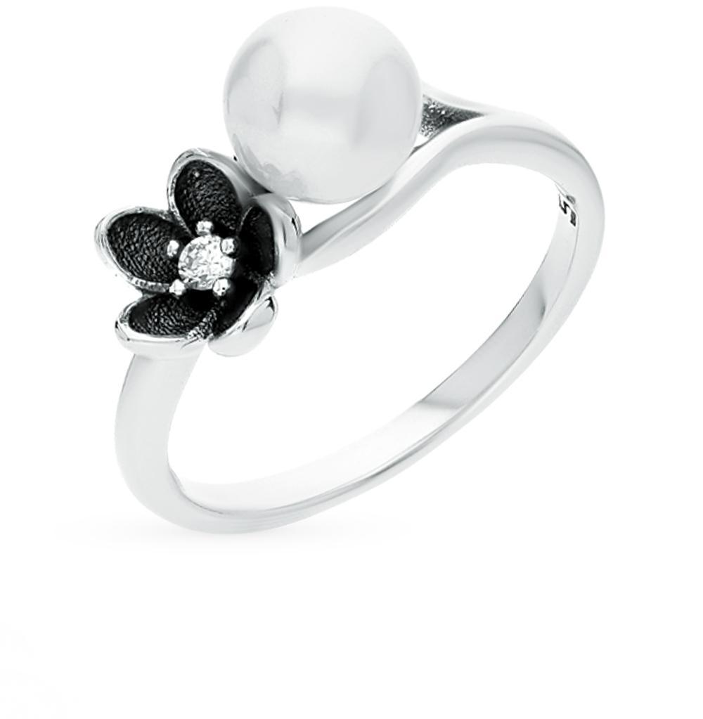 Фото «серебряное кольцо с фианитами и жемчугом имитациями»