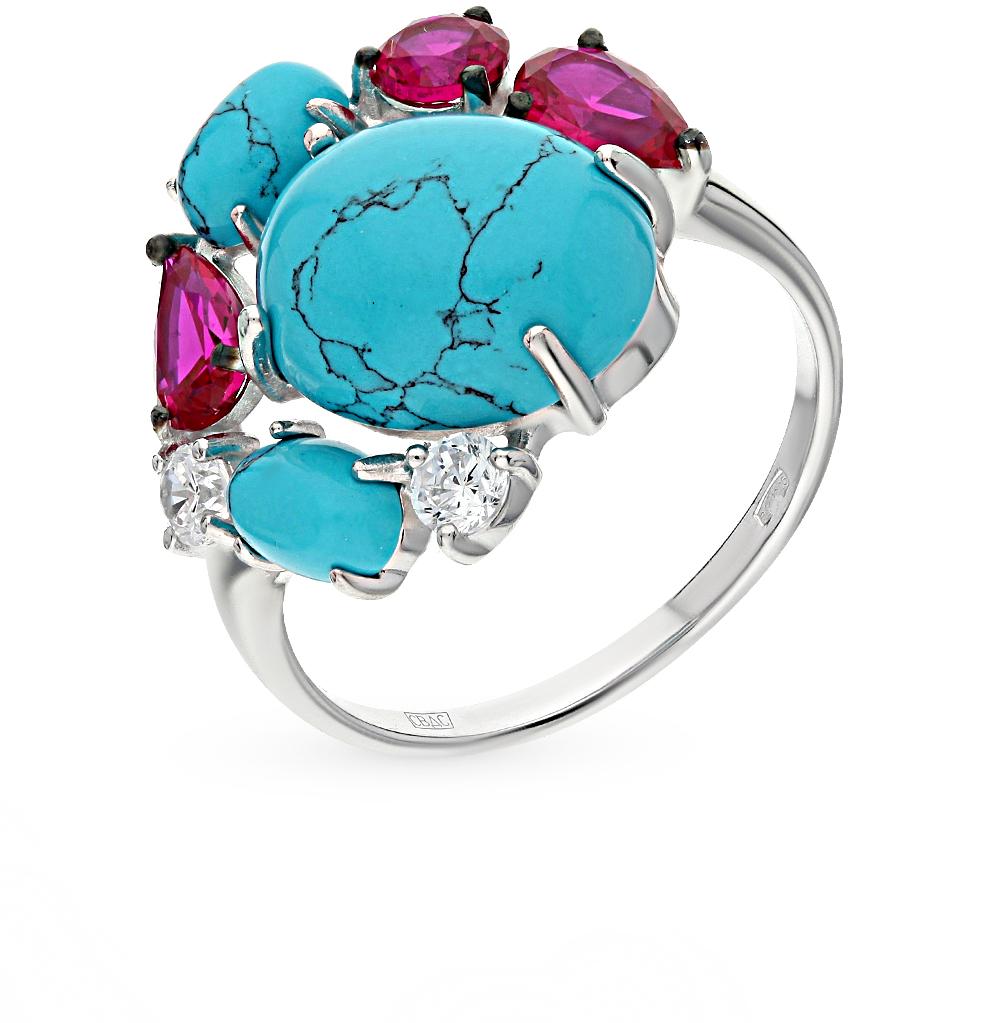Фото «серебряное кольцо с бирюза имитациями и фианитами»
