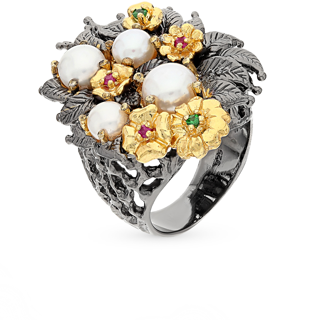 Фото «серебряное кольцо с гранатами, рубинами и жемчугом»