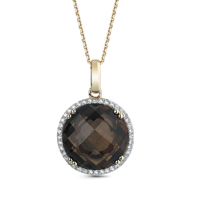 Фото «золотая подвеска с бриллиантами и раухтопазами (кварцами дымчатый)»