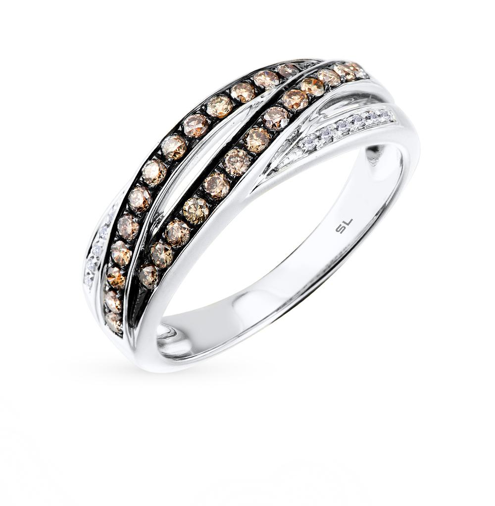 Фото «золотое кольцо с коньячными и белыми бриллиантами»