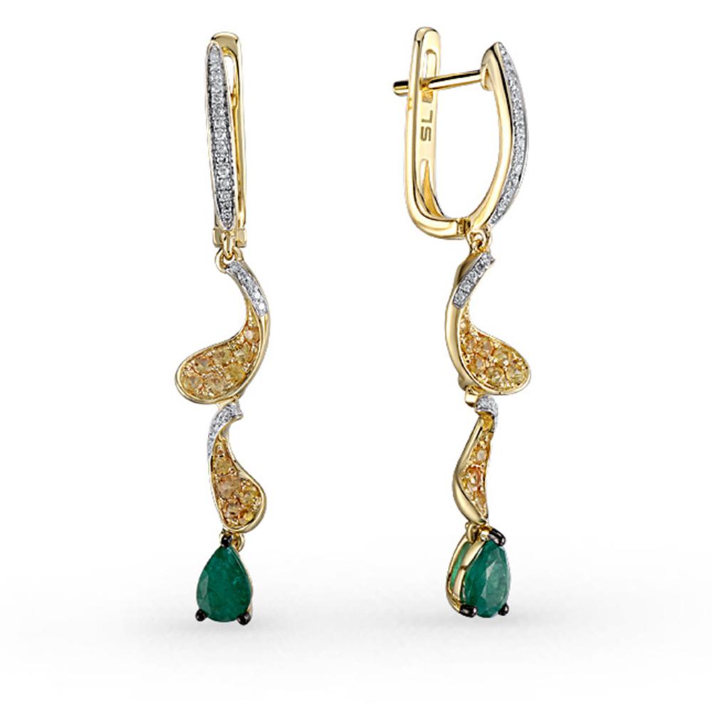 Фото «золотые серьги с бриллиантами, изумрудами и сапфирами»