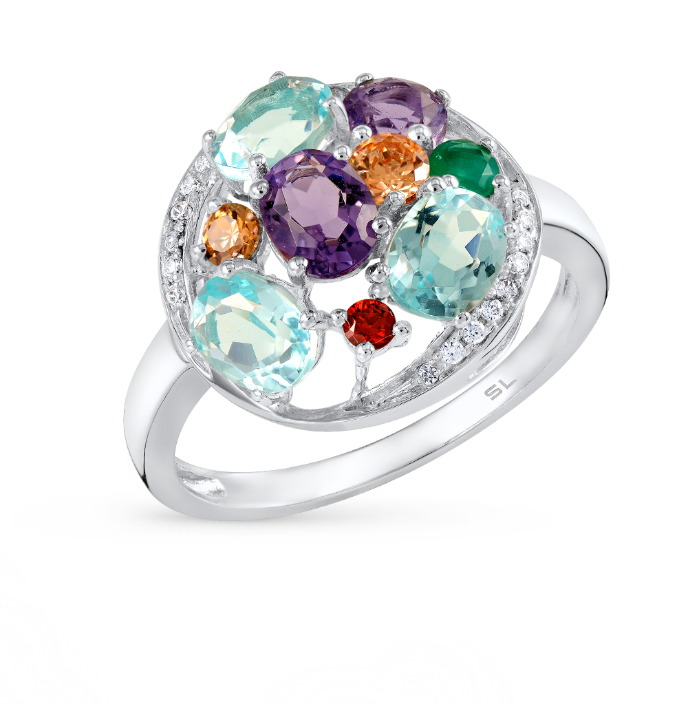 Фото «серебряное кольцо с фианитами и агатами»