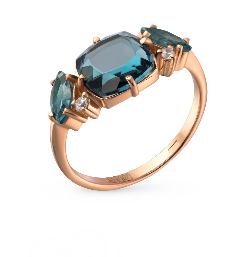 Фото «золотое кольцо с со шпинелью и фианитами»