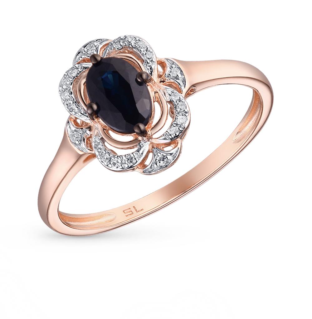 Фото «золотое кольцо с бриллиантами, султанитами синтетическими и сапфирами»