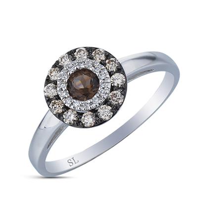 Фото «золотое кольцо с коньячными и белыми бриллиантами, изумрудами и раухтопазами (кварцами дымчатый)»