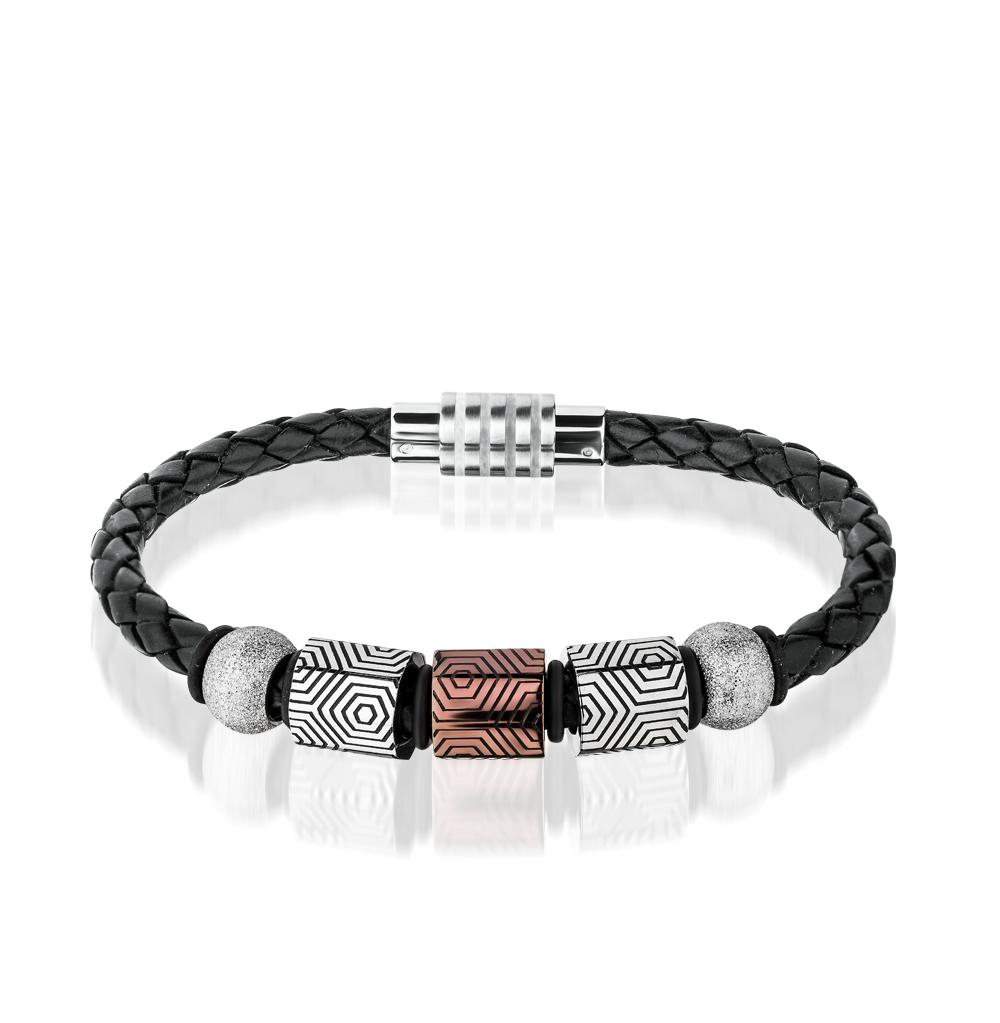 Фото «браслет из каучука и кожи с сталью»