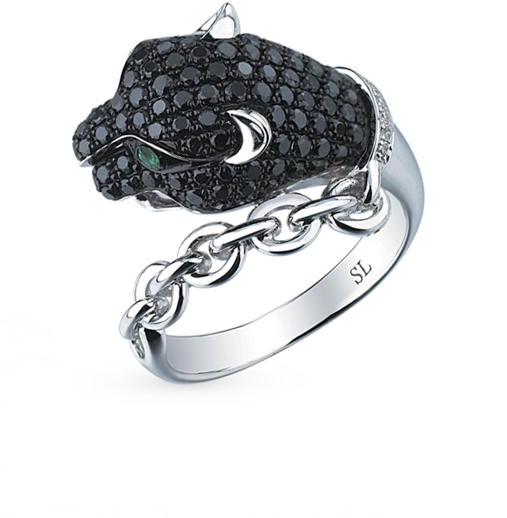 Фото «золото кольцо с чёрными и белыми бриллиантами и изумрудами»