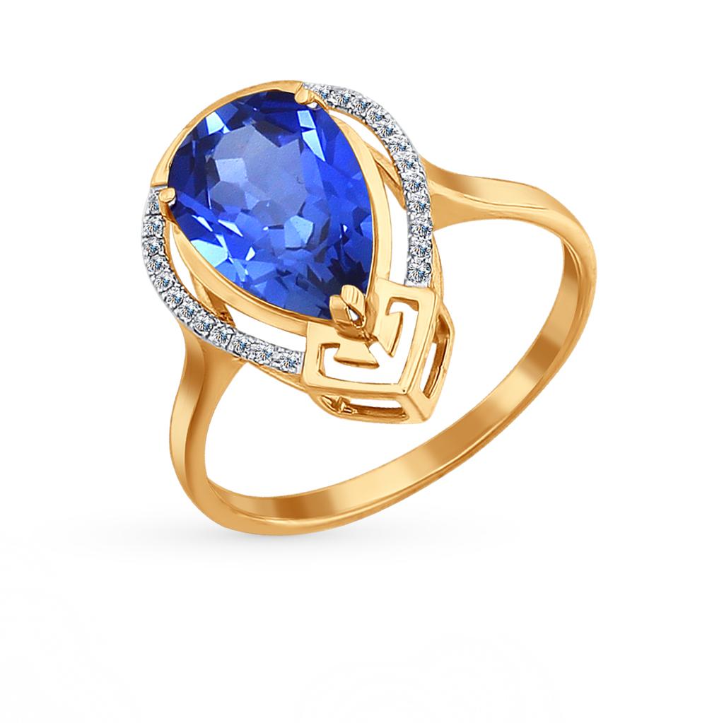 Фото «золотое кольцо с бриллиантами и корундами синтетическими»