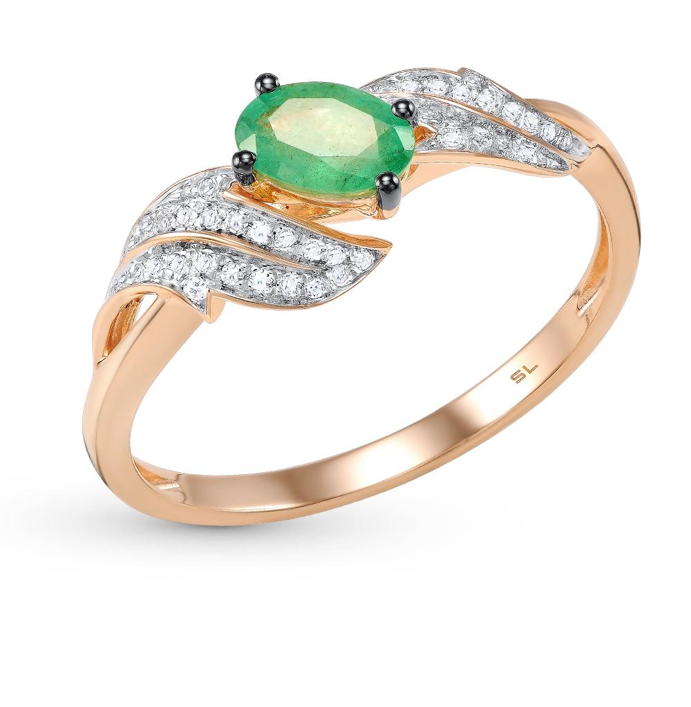 Фото «серебряное кольцо с бриллиантами, алпанитами, фианитами и изумрудами»