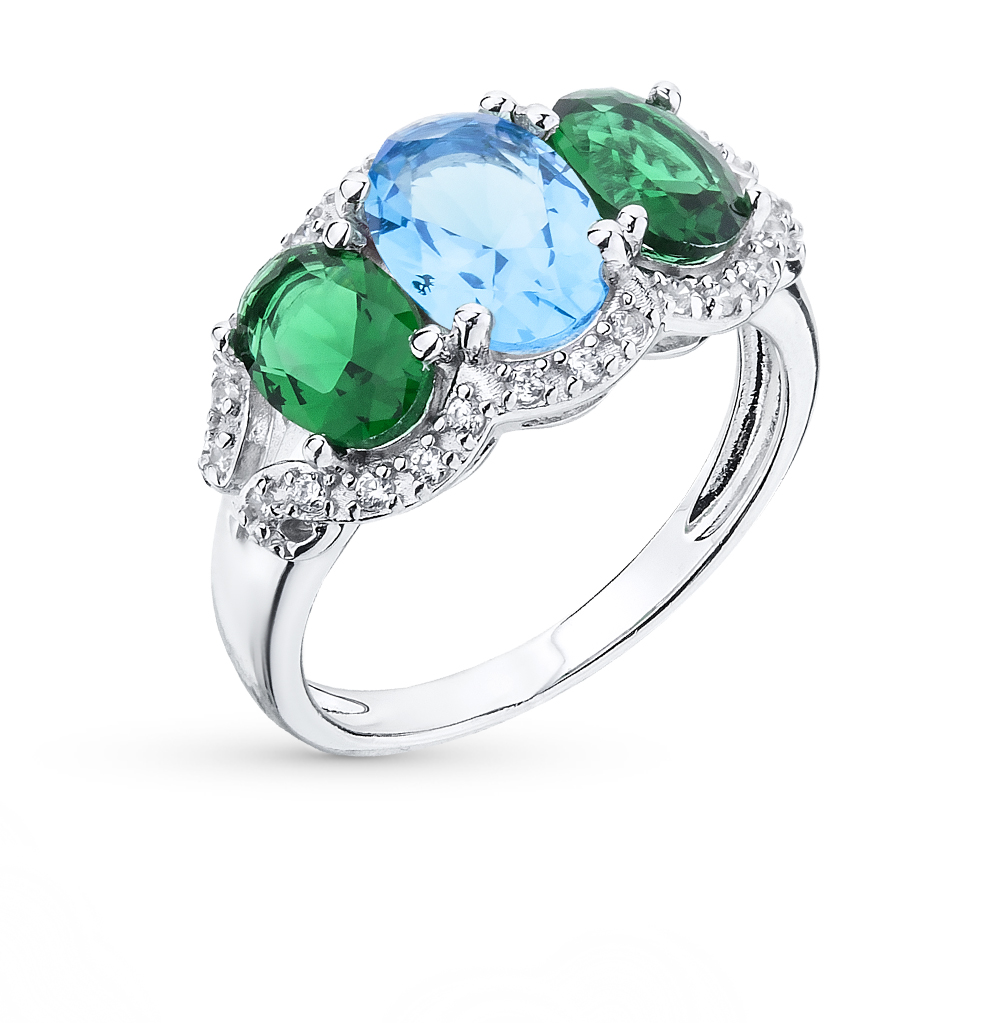 Фото «серебряное кольцо с фианитами, сапфирами синтетическими и изумрудами синтетическими»