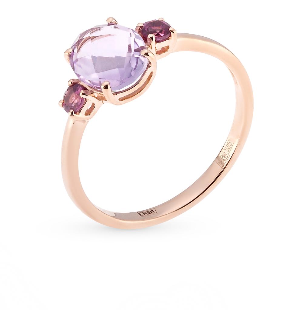 Фото «золотое кольцо с бриллиантами, аметистами и сапфирами»