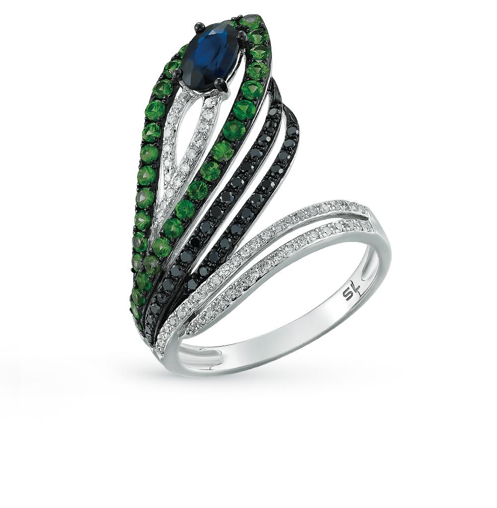 Фото «золотое кольцо с бриллиантами, гранатами, топазами и сапфирами»