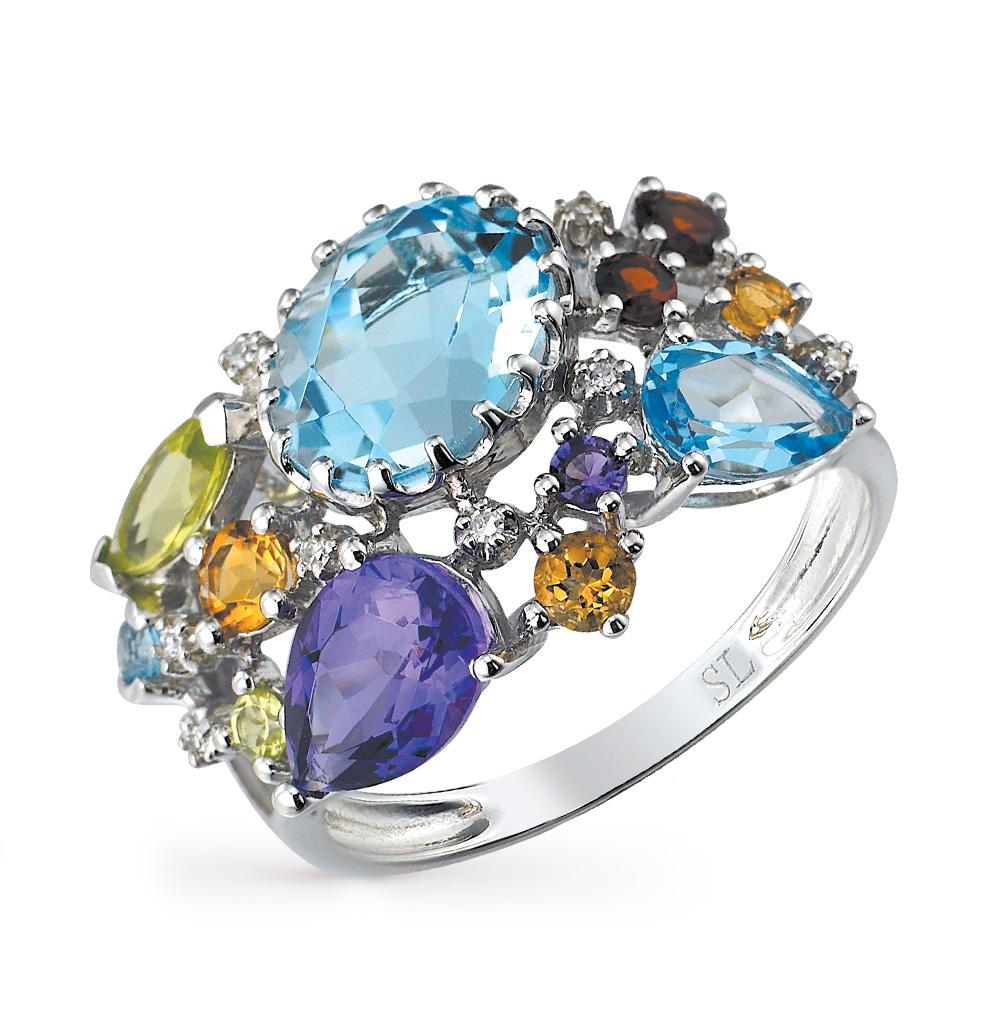 Фото «золотое кольцо с бриллиантами, аметистами, гранатами, топазами и хризолитами»