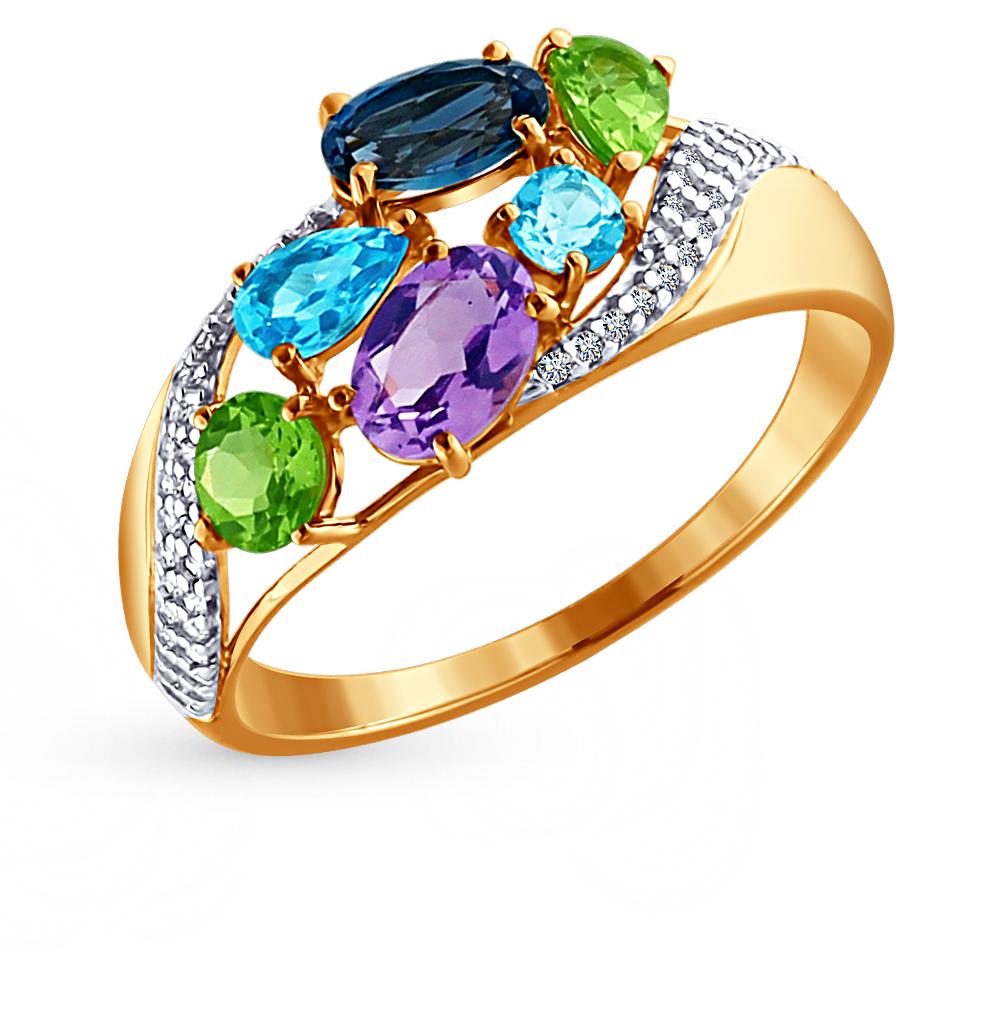Фото «золотое кольцо с аметистами, топазами, фианитами и хризолитами»