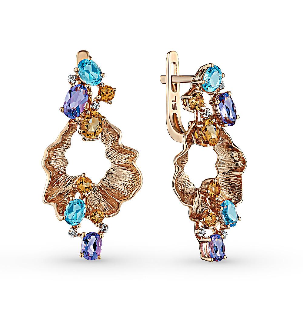 Фото «золотые серьги с бриллиантами, аметистами, цитринами и топазами»