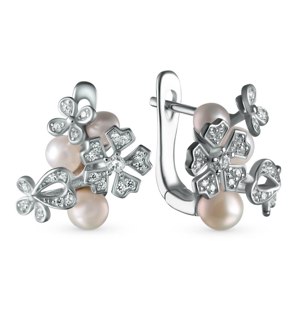 Фото «серебряные серьги с жемчугами культивированными и фианитами»