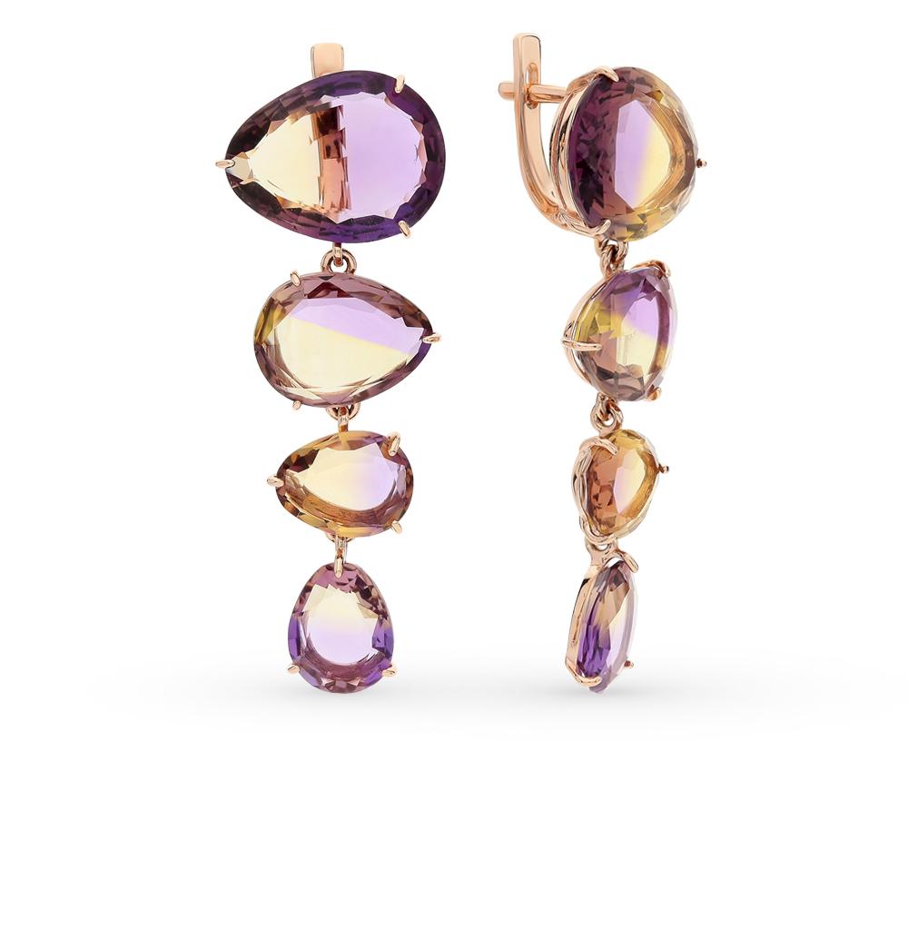 Фото «золотые серьги с кварцами»
