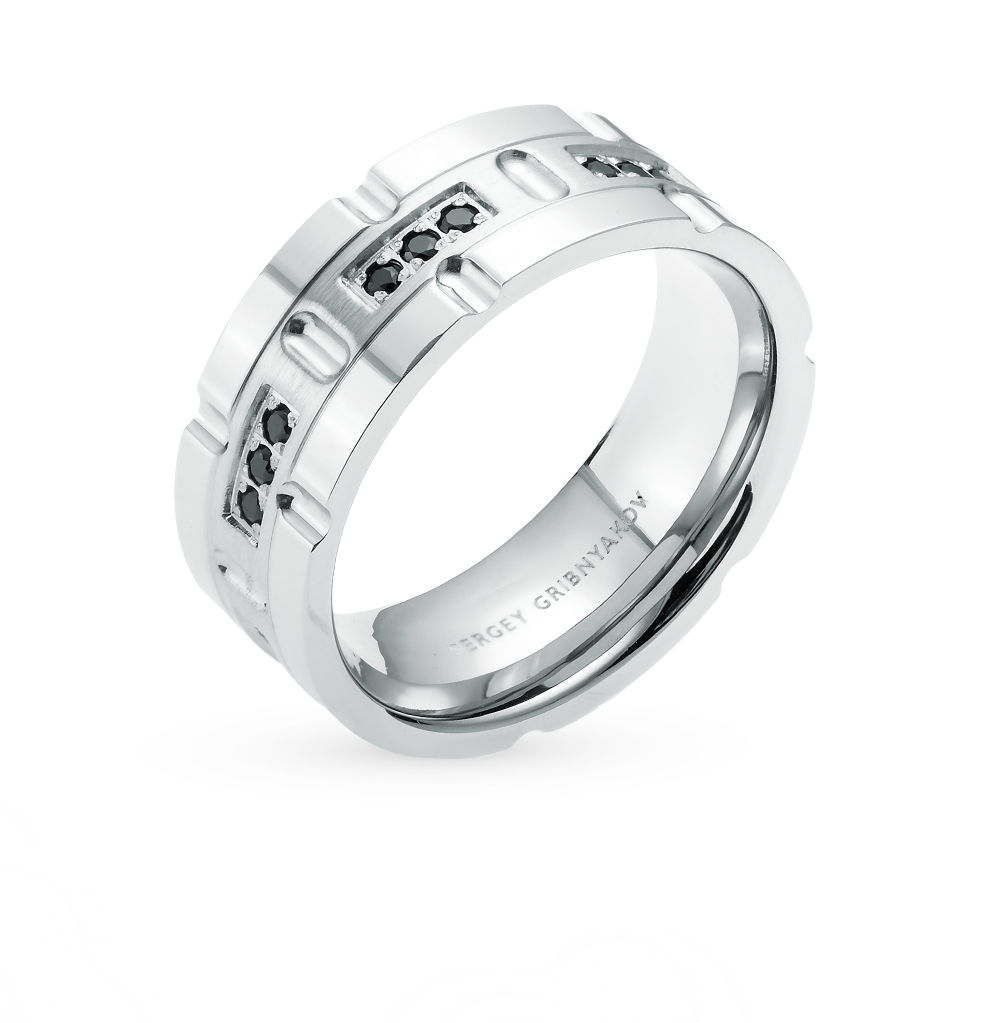 Фото «кольцо из серебра с сталью и фианитом»
