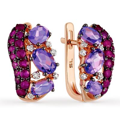 Фото «золотые серьги с бриллиантами, аметистами и рубинами»