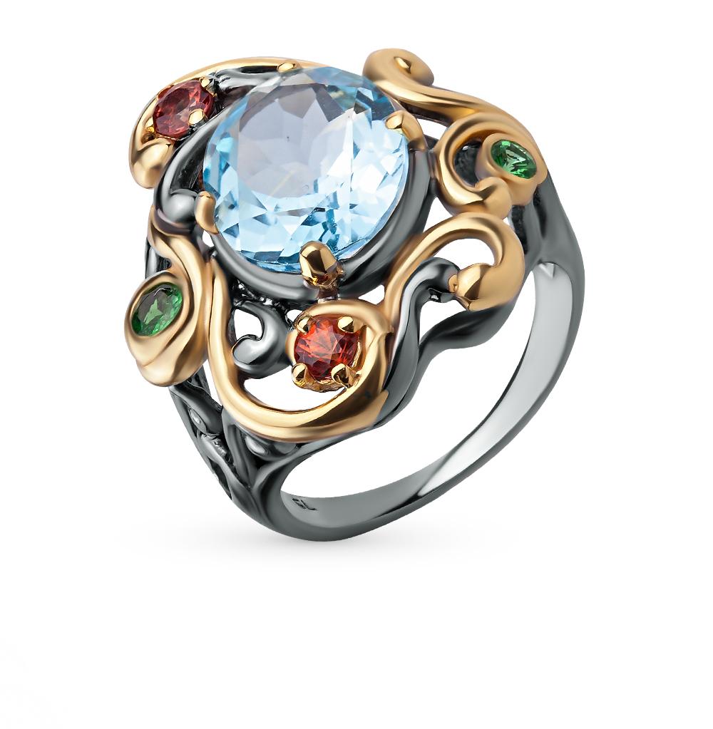 Фото «серебряное кольцо с цаворитами, топазами и сапфирами»