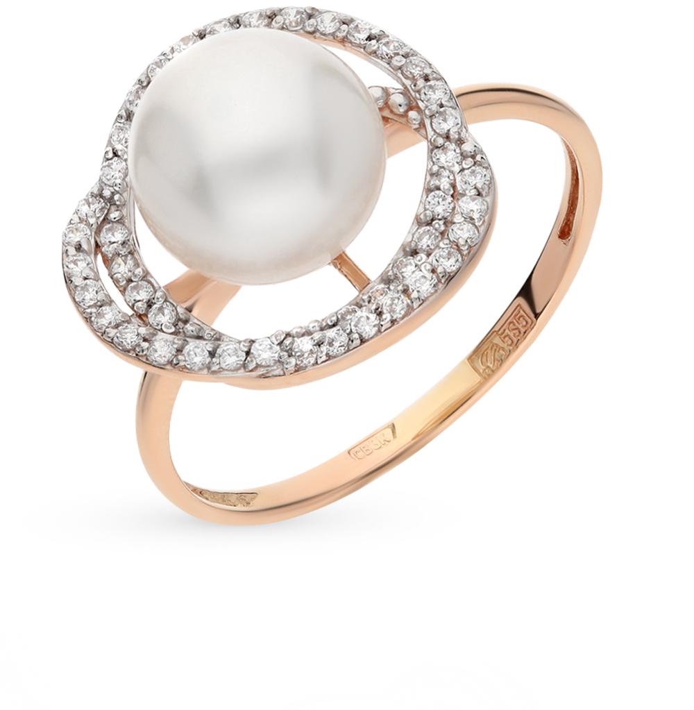 Фото «золото кольцо с фианитами и жемчугом»