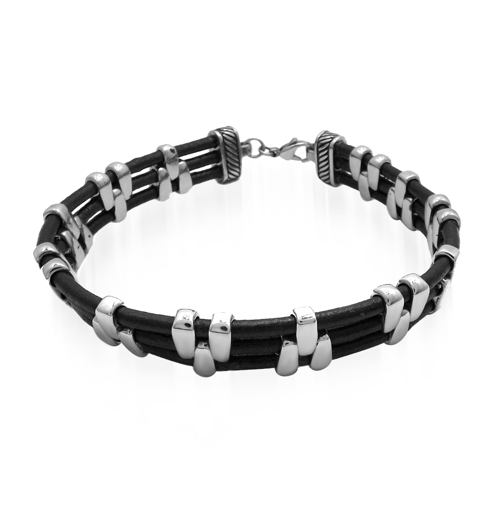 Фото «браслет из кожи с со сталью»