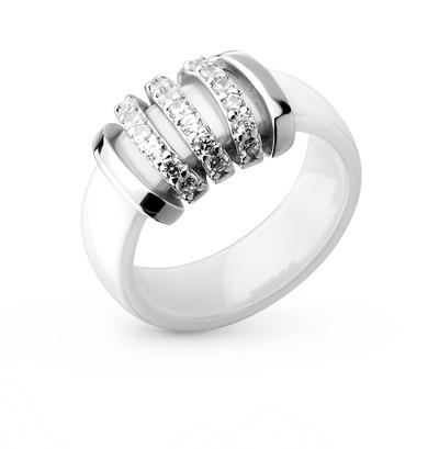 Фото «кольцо из керамики и серебра с серебром и фианитом»