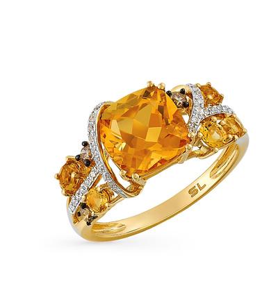 Фото «золотое кольцо с коньячными и белыми бриллиантами и цитринами»